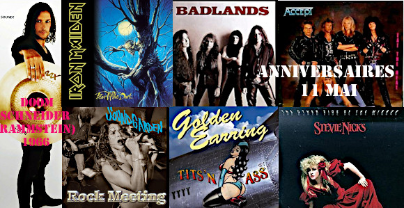 anniv11 mai iron maiden rammstein rush the animals axe hawkwind jimi hendrix experience bathory rage badlands accept as i lay dying misery index