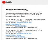 Le canal Youtube de RockMeeting HS, victime de Chrystel Camus (CAMUS PROD - Legends Of Rock ) - Parodie de justice dans la réponse de Youtube
