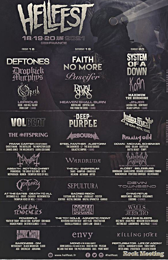 hellfest 2021faith no more system of a down deftones judaspriest deep purple volbeat