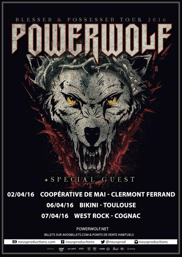 POWERWOLF - BATTLE BEAST - SERENITY Clermont-Ferrand Toulouse Cognac 2016