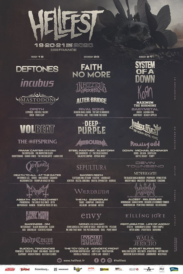 hellfest 2020 system of a down faith no more volbeat judas priest deep purple alter bridge korn opeth 01