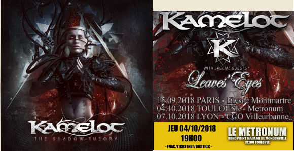 kamelot the shadow theory KAMELOT + LEAVES 'EYES Tour 2018 - Paris - Toulouse - Lyon...